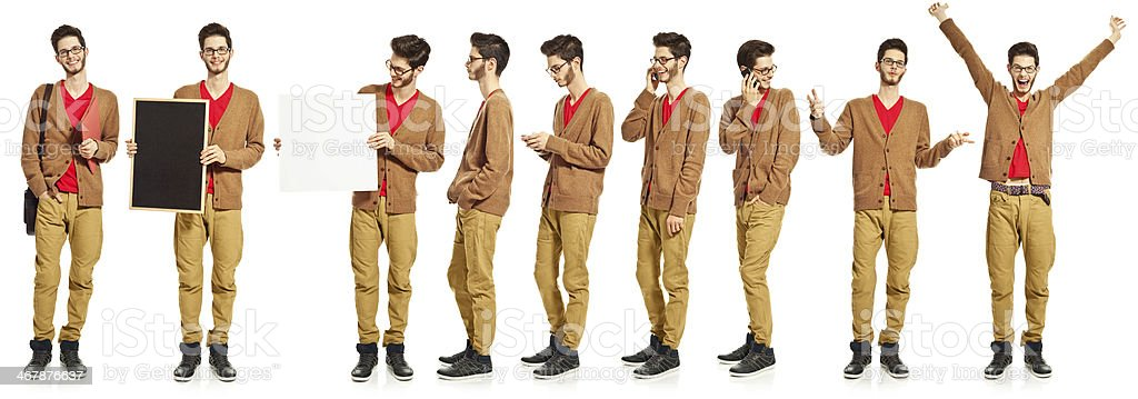 Multiple exposure of a young man stock photo