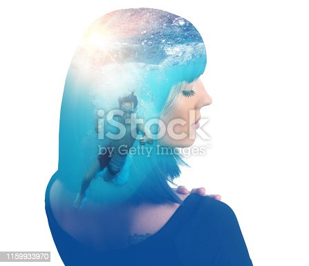 Multiple exposure of a young woman and boy swimming underwater