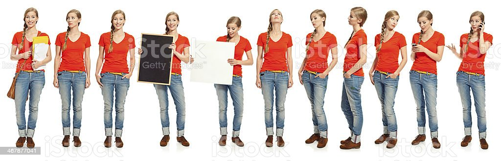 Multiple exposure of a young woman Collection of one young woman standing in different poses over white background. 20-29 Years Stock Photo