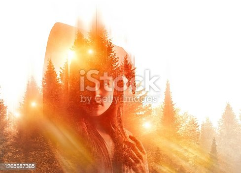 Multiple Exposure of beautiful woman feeling gratitude for nature and good health