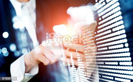 istock Multiple exposure of businesswoman using mobile phone 878387220