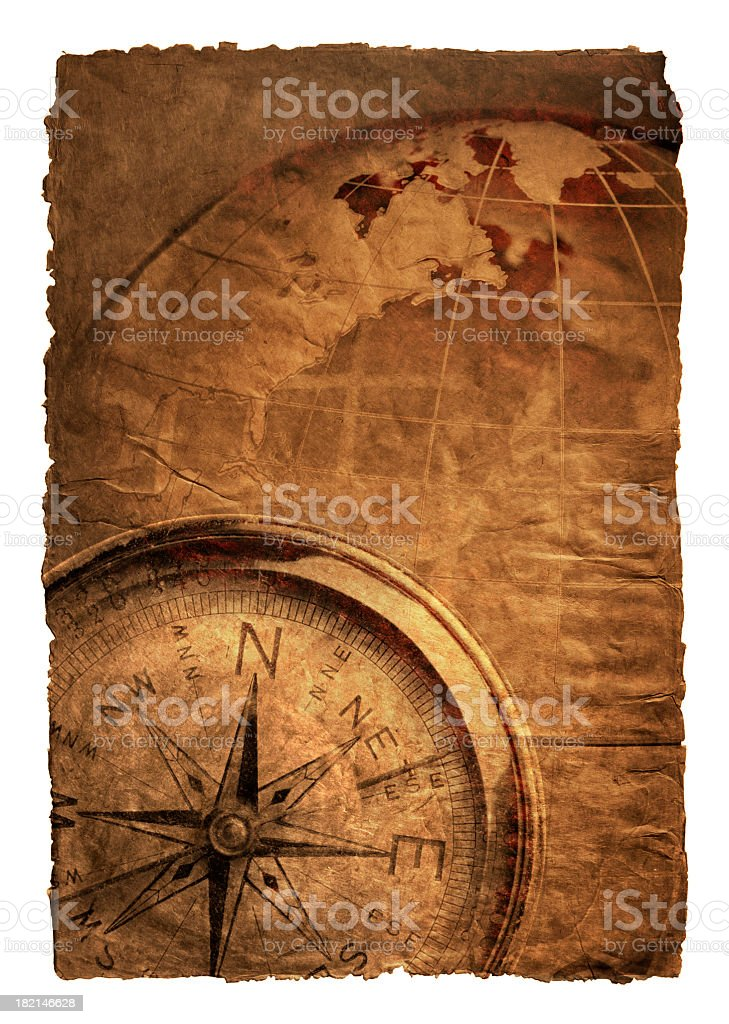 Multiple Exposure Of Compass And Globe On Richly Textured Surface royalty-free stock photo