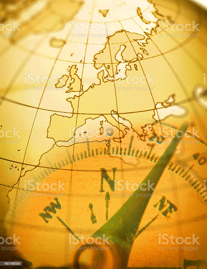 Multiple Exposure Of Compass Close Up And Globe royalty-free stock photo