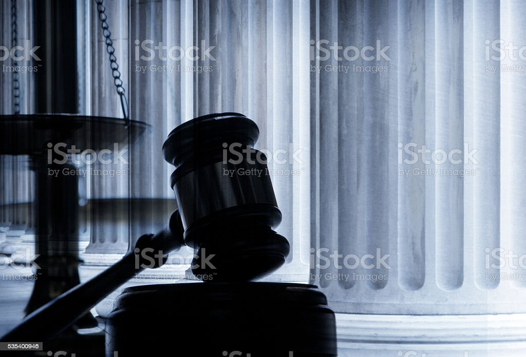 Multiple Exposure Of Gavel And Greek Columns stock photo