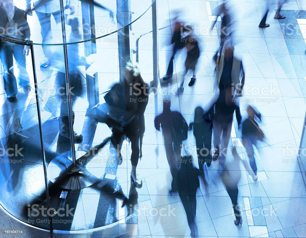 Multiple exposure of pedestrians on the move stock photo