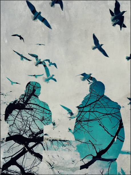 Multiple exposure of seagulls and two men silhouettes