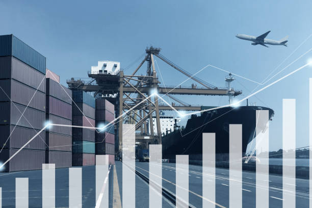 Multiple exposure of shipping logistics transportation with graph increasing growth.