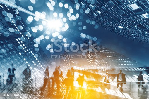 istock Multiple exposure of Silhouettes of people walking in the street near skyscrapers and modern office buildings in Paris business district. Multiple exposure blurred image. Economy, finances, business concept illustration 934713450