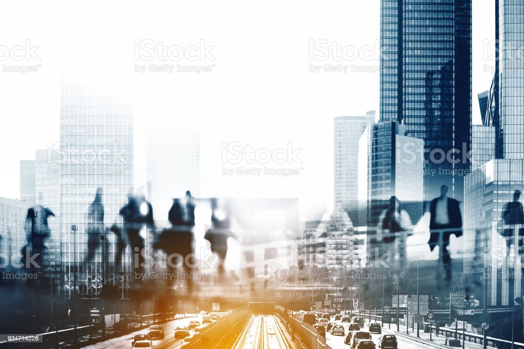 Multiple exposure of Silhouettes of people walking in the street near skyscrapers and modern office buildings in Paris business district. Multiple exposure blurred image. Economy, finances, business concept illustration stock photo
