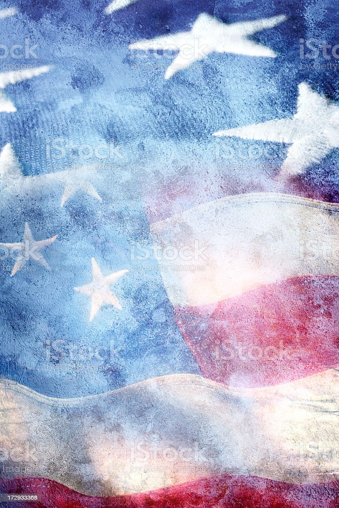 Multiple exposure of two American flags royalty-free stock photo