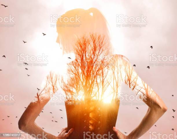 Photo of Multiple exposure of woman grateful for nature and good health.