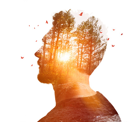 Multiple Exposure of young man and nature at sunset
