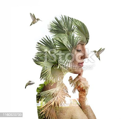 Multiple Exposure of young woman and hummingbirds