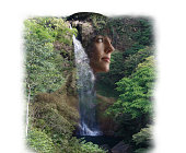 Multiple Exposure of young woman and rainforest waterfall