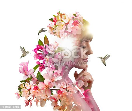 Multiple Exposure of young woman morphing into apple blossoms and hummingbirds during springtime.