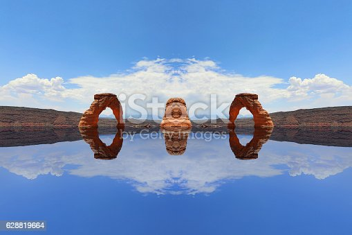 Multiple exposure of Delicate Arch creating other worldly landscape. Arches National Park.
