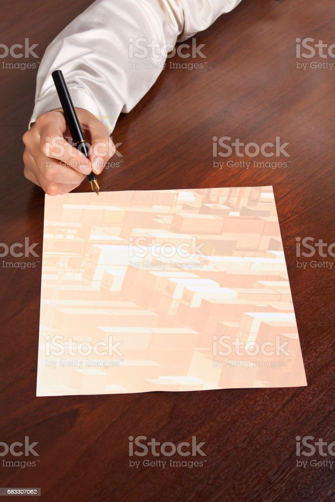 multiple exposure paper on desk foto stock royalty-free
