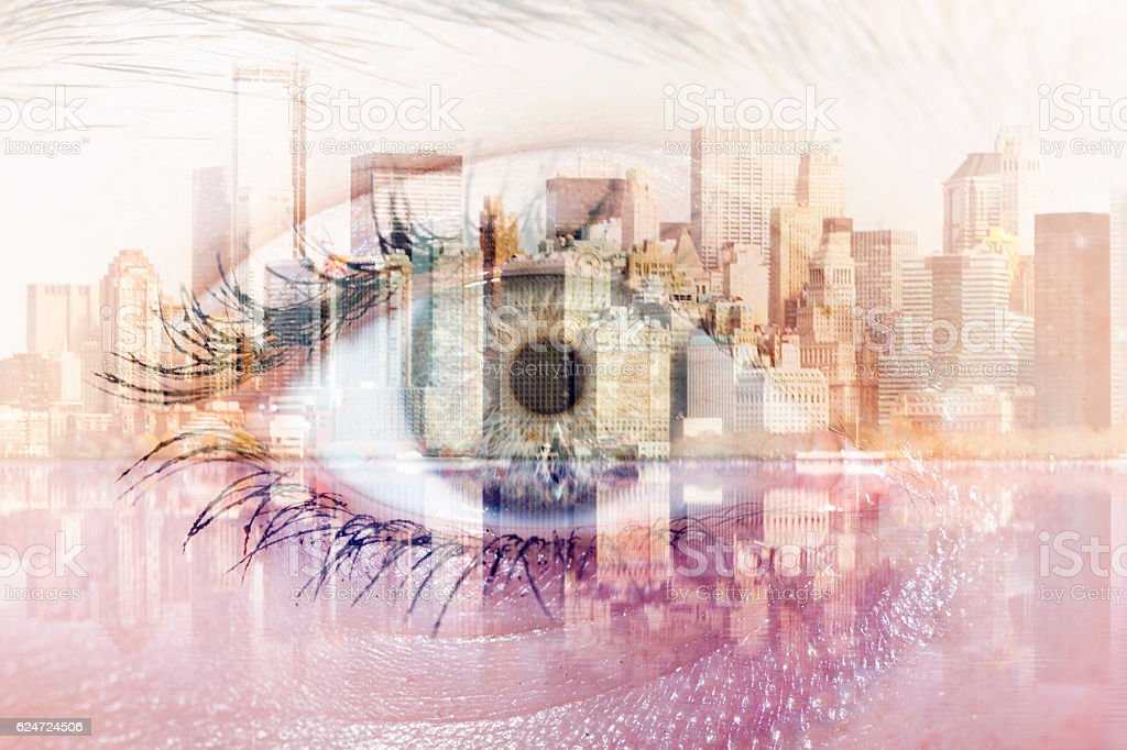 Multiple Exposure with eye and newyork city stock photo