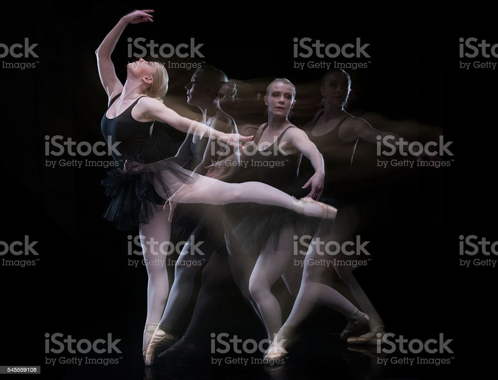 Multiple Exposure - Woman ballet dancing stock photo