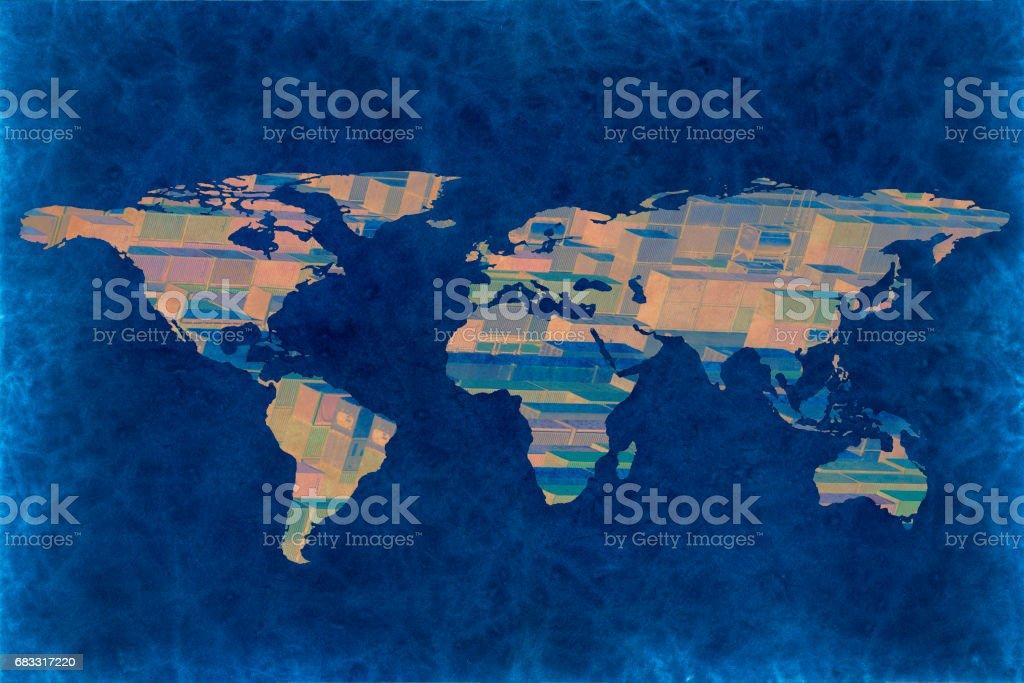 multiple exposure world map photo libre de droits