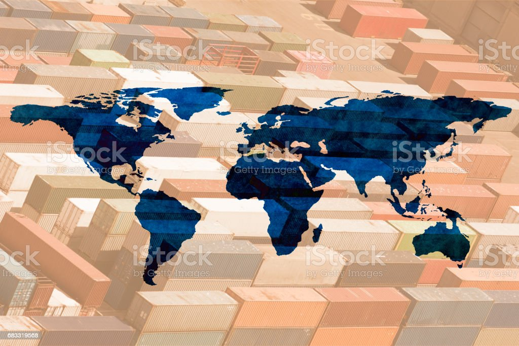 multiple exposure world map royalty-free stock photo