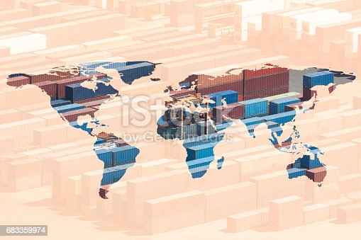 multiple exposure world map, all logos on cargo containers removed.
