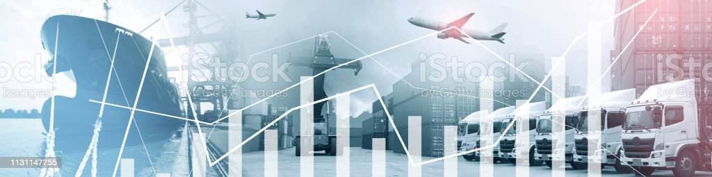 Multiple exposures of business shipping, logistics, industry...