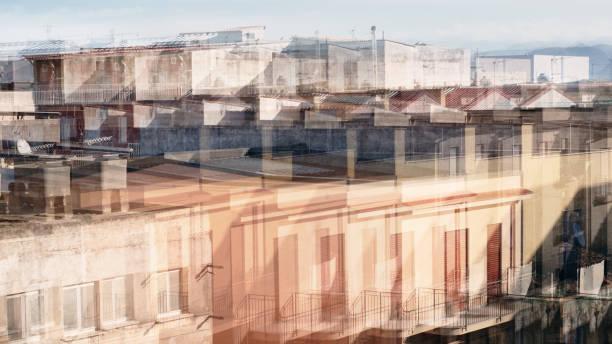 Multiple exposures: Sicilian residential buildings stock photo