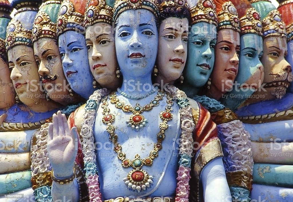 Multiple face statue, Hindu temple, Singapore royalty-free stock photo