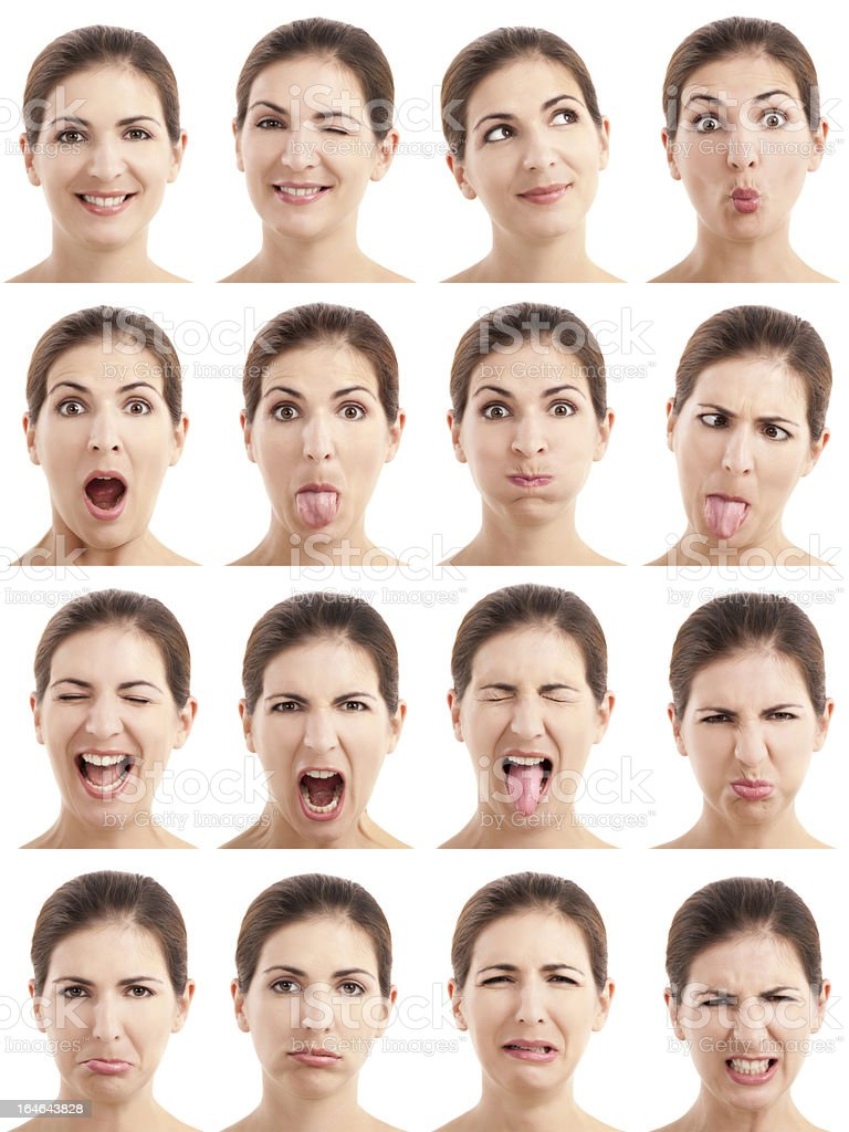 Multiple faces expressions stock photo