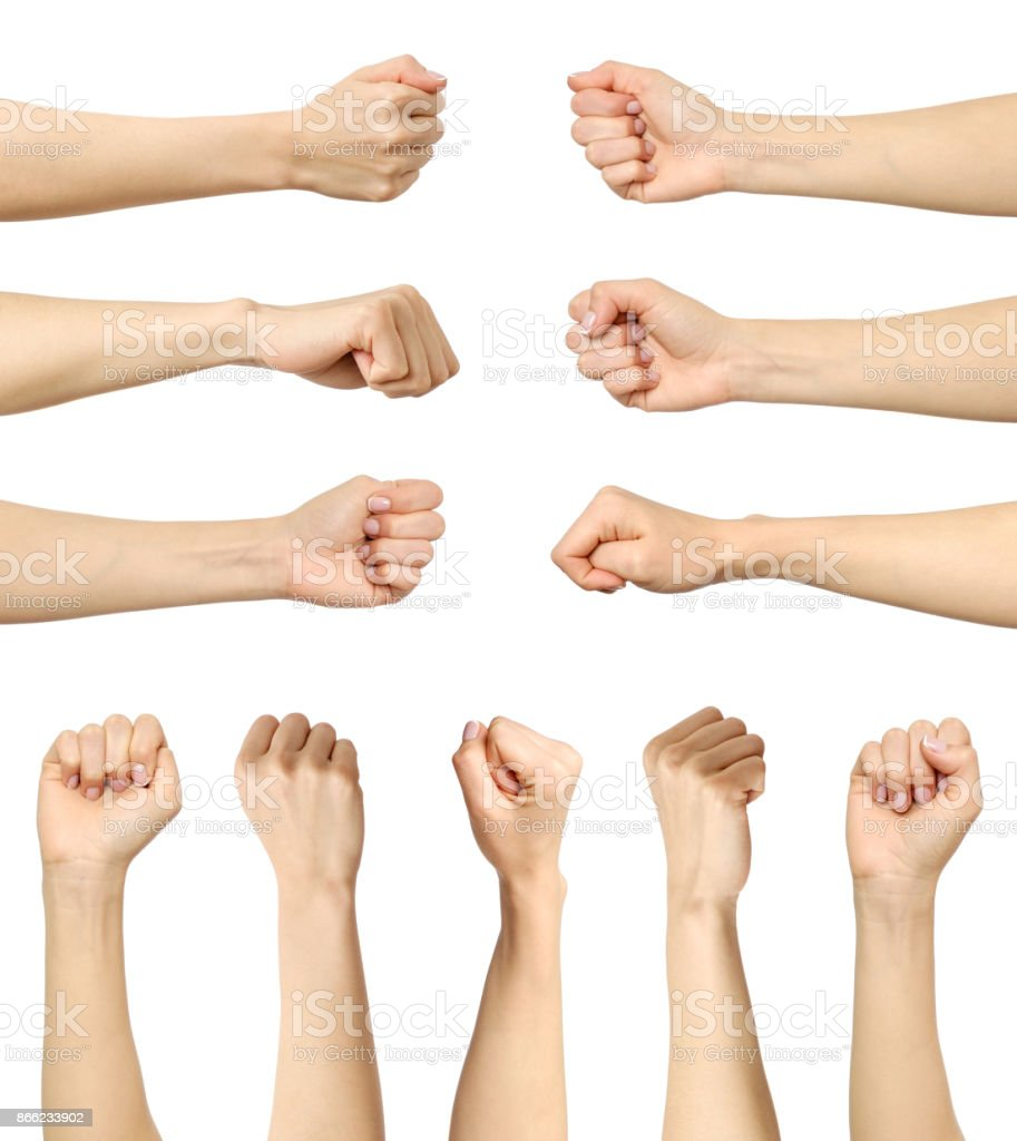 Multiple female caucasian clenched fist isolated over white background stock photo