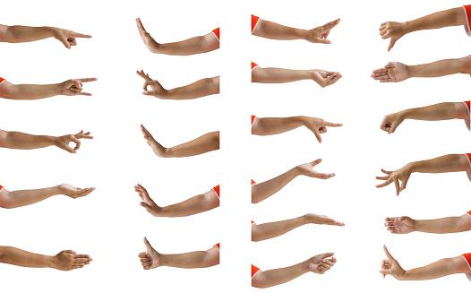Multiple female hand gesture isolation on white background.