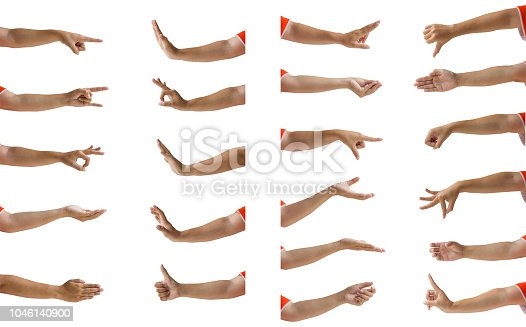 Clipping path of hands isolated : Multiple female hand gesture isolation on white background. Cropped of woman hand showing many hand sign/emotion/symbol against white. Easy to use for work.