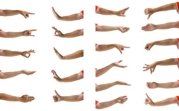 aislamiento de gesto mano femenina múltiples sobre fondo blanco. - brazo fotografías e imágenes de stock
