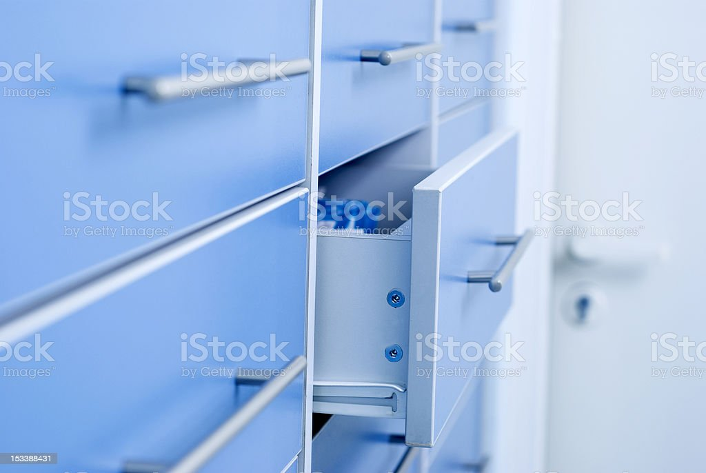 Multiple filing cabinet stock photo