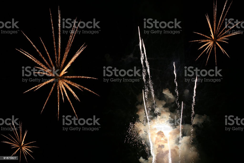 Multiple fireworks royalty-free stock photo