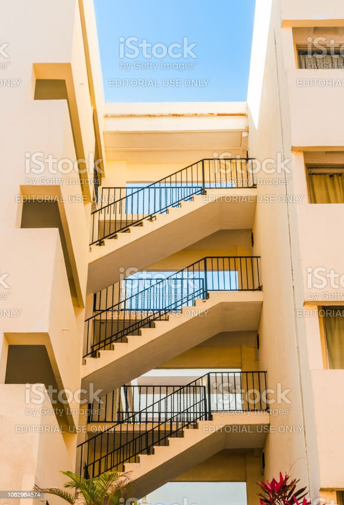 Low angle shot of architectural modern staircases in the old section...
