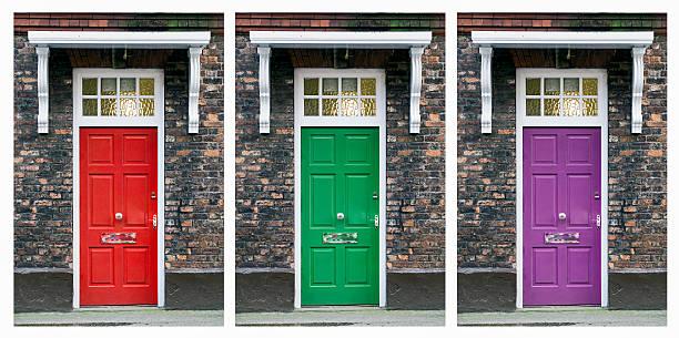 mehrere tür collage - lila palette stock-fotos und bilder