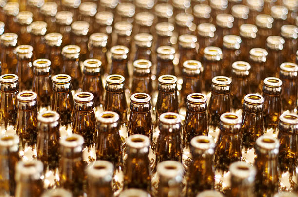 Multiple glass bottles stock photo