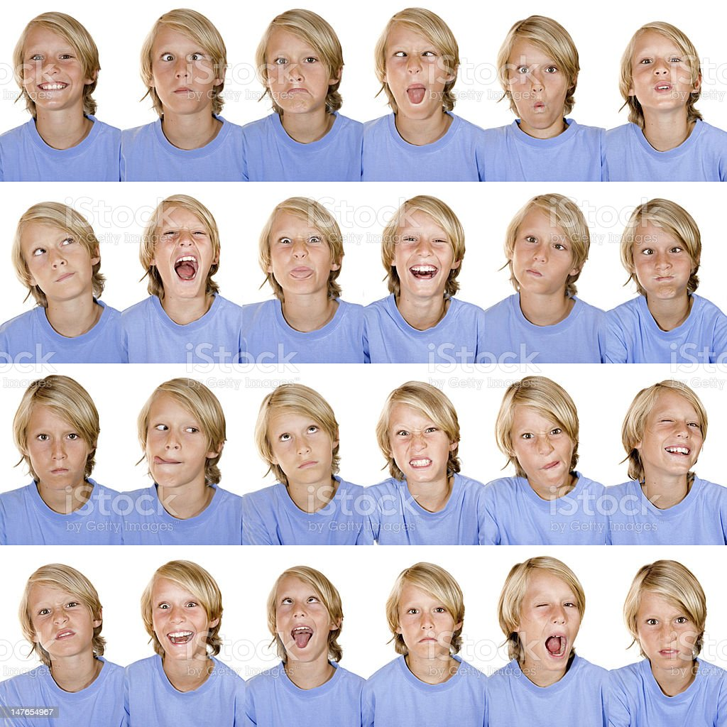 multiple image facial expressions stock photo
