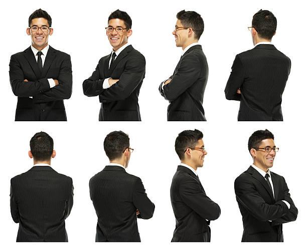 immagine multipla di un bel giovane uomo d'affari - ritratto 360 gradi foto e immagini stock