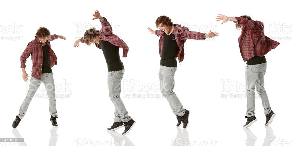 Multiple image of a young man dancing royalty-free stock photo