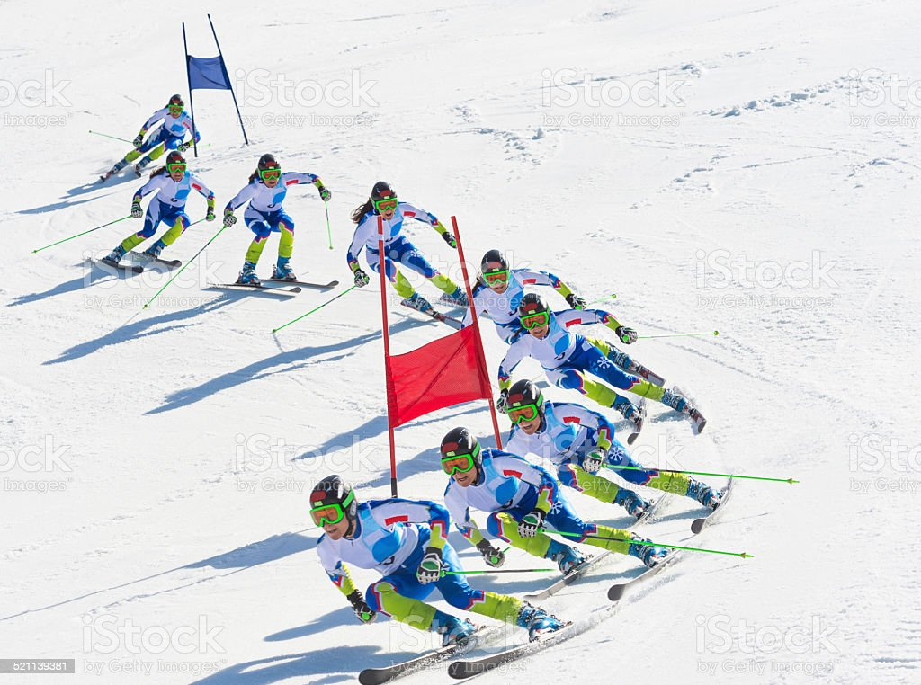 Multiple Image of Female Giant Slalom Skier During the Race stock photo