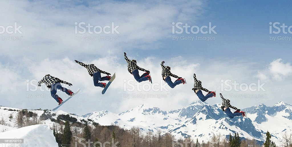 Multiple Image of Free Style Snowboarder Performing Grab stock photo