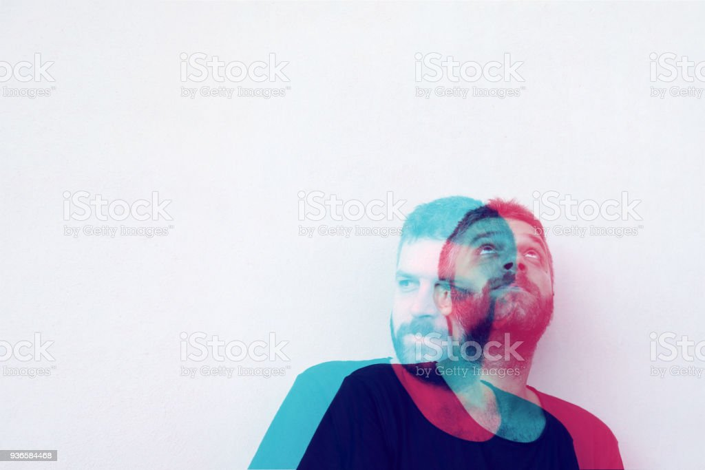 Multiple Image Of Handsome Young Man Against stock photo