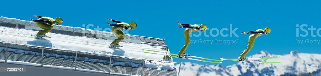Multiple image of ski jumper at take off stock photo
