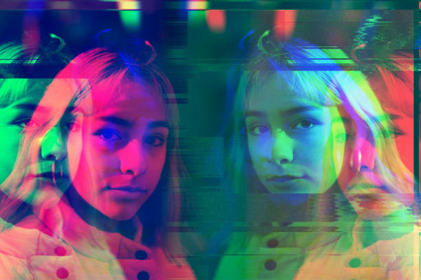 Multiple Image Of Teenage girl, Glitch technique stock photo