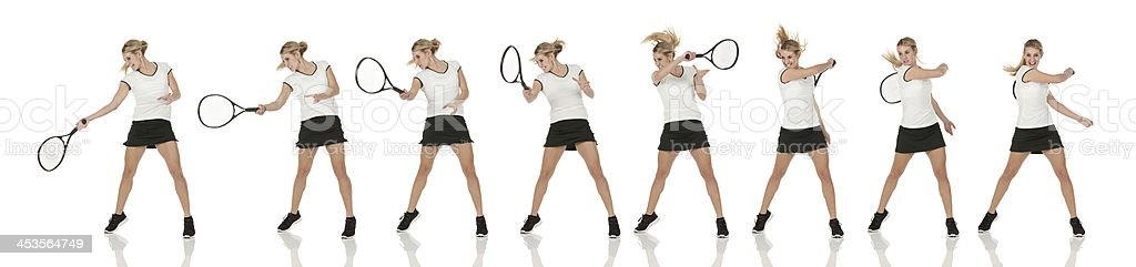 Multiple images of a female tennis player in action stock photo