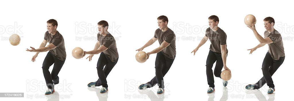 Multiple images of a man bowling royalty-free stock photo
