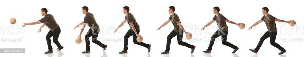 Multiple images of a man bowling stock photo